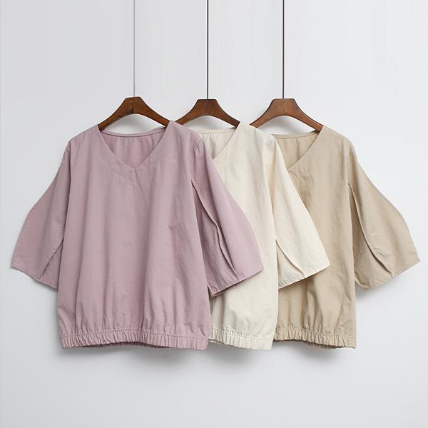 素色V領短袖上衣,正韓,正韓商品,素色,V領,短袖上衣