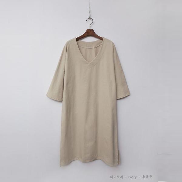 素色寬鬆V領洋裝,正韓,正韓商品,素色,寬鬆,V領洋裝