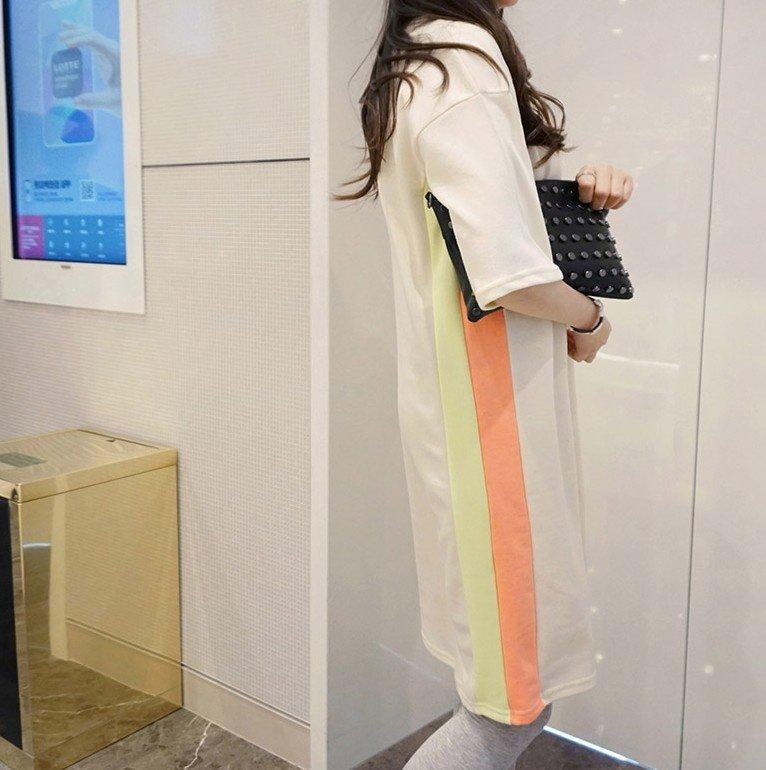 時尚休閒條紋洋裝