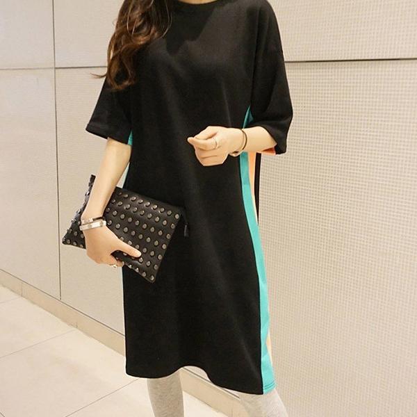 時尚休閒條紋洋裝,正韓,正韓商品,百搭,monicaroom,D1-20Y0214
