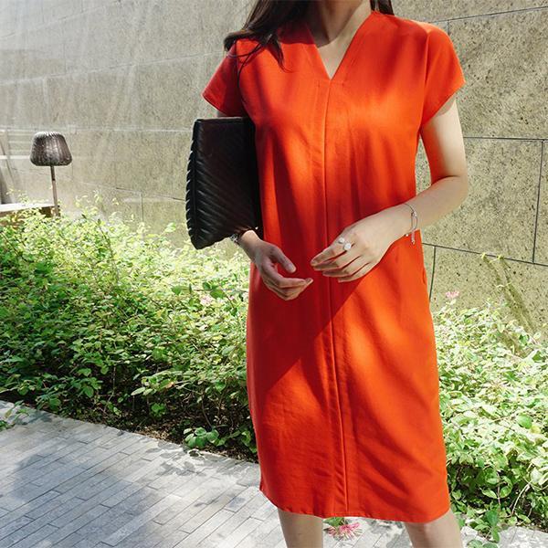 休閒V領純色洋裝,正韓,正韓商品,百搭,休閒,monicaroom
