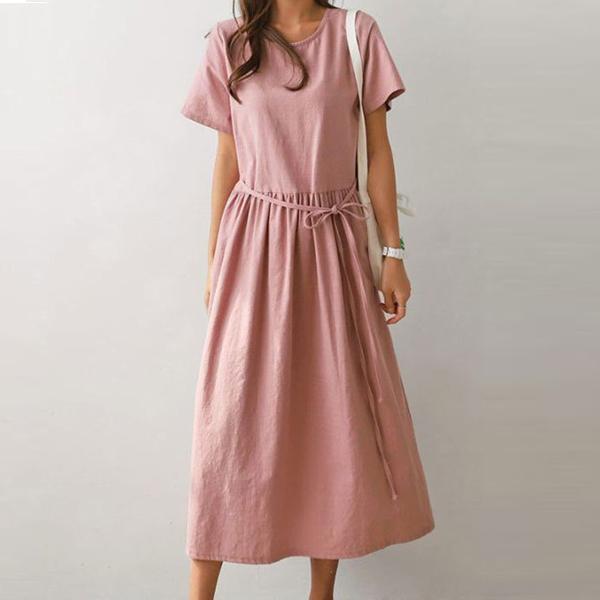 純色蝴蝶結休閒洋裝