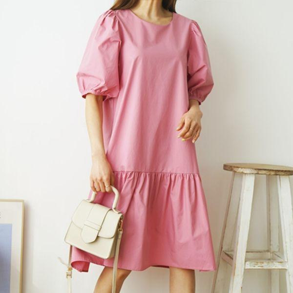 經典純色休閒洋裝,正韓,正韓商品,百搭,休閒,中大尺碼