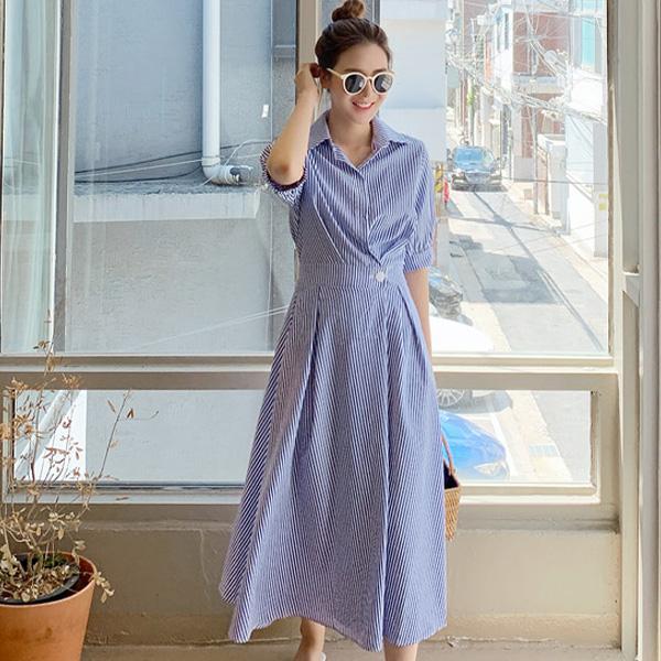 時尚隨性條紋洋裝
