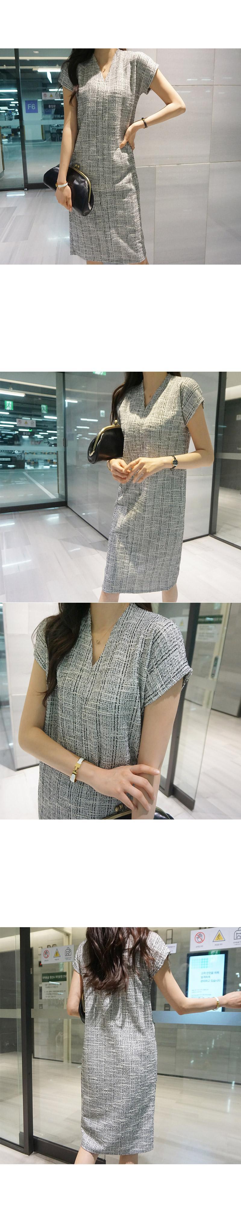 風格紋理V領洋裝