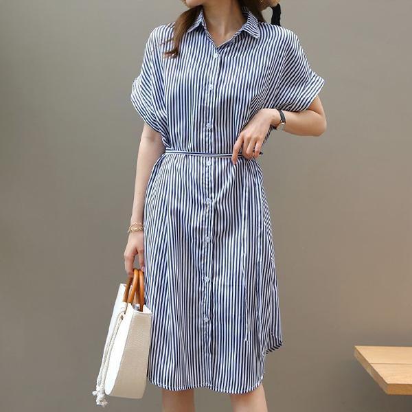 清新自然條紋洋裝