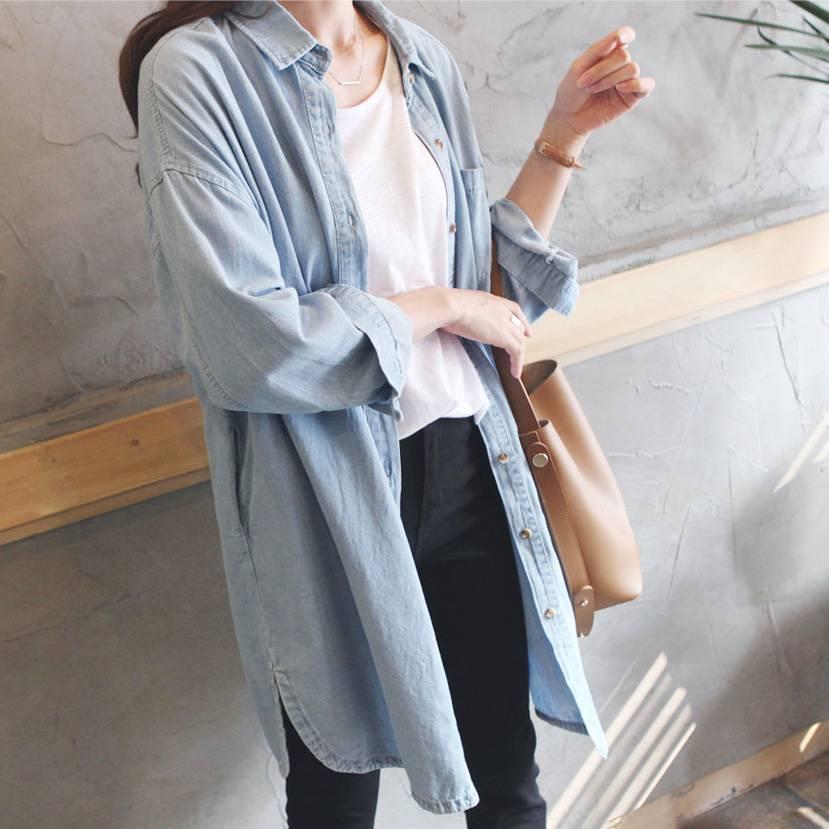 簡約長版寬鬆襯衫