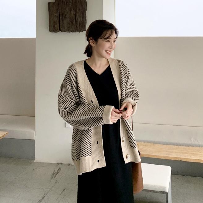 菱紋開襟針織外套