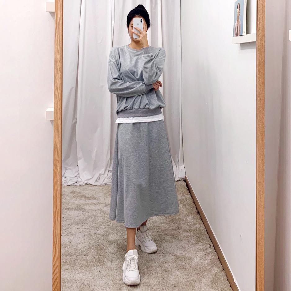 純色休閒套裝裙