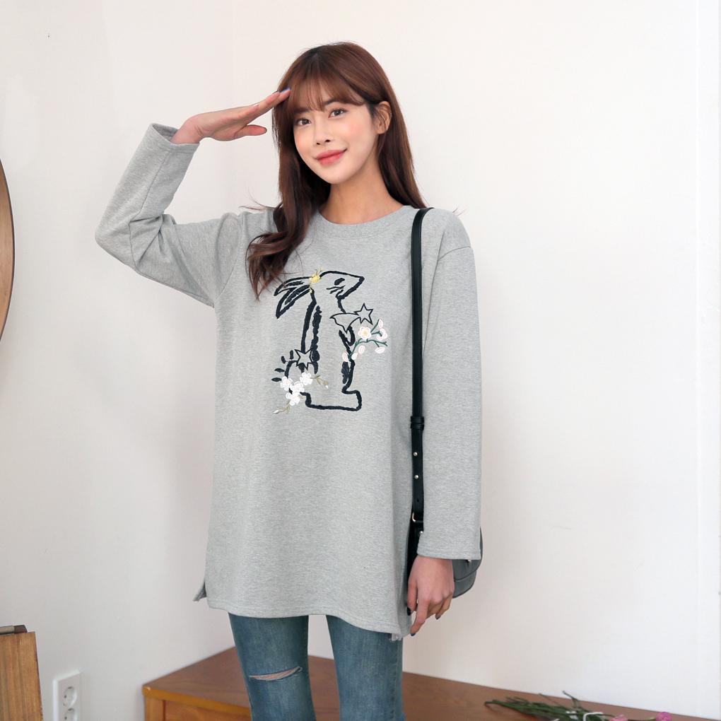 兔子刺繡長版T恤