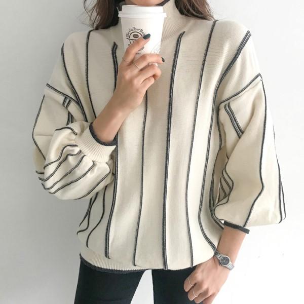 條紋撞色泡泡袖上衣,百搭,時尚,冬天,秋天,高領