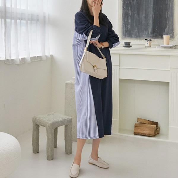 休閒條紋撞色洋裝