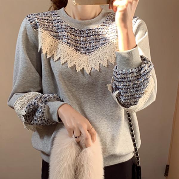 蕾絲拼接上衣,正韓,正韓商品,百搭,時尚,冬天