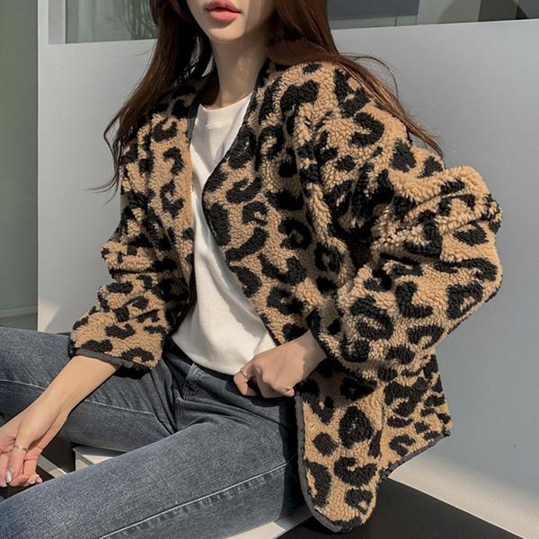 豹紋羊羔毛外套