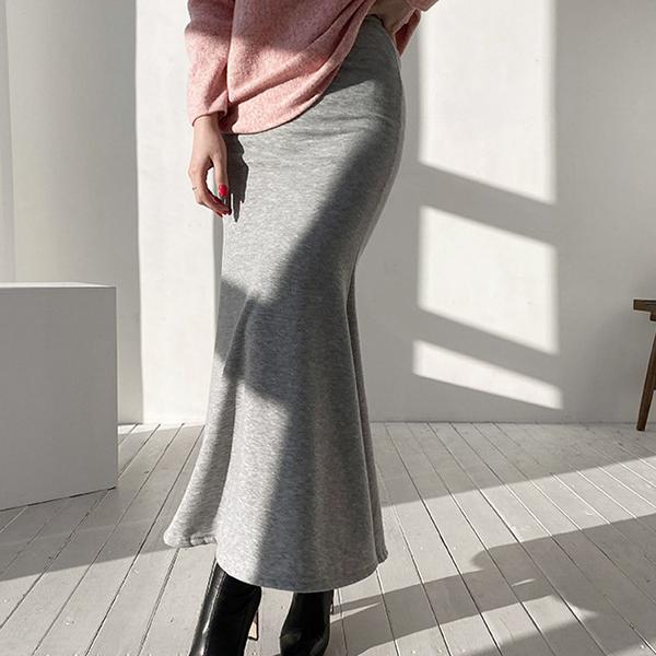 修身刷毛魚尾裙