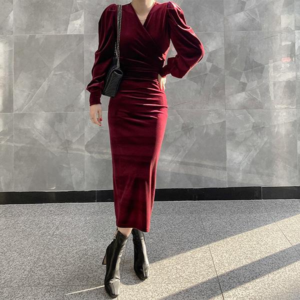 修身天鵝絨長洋裝