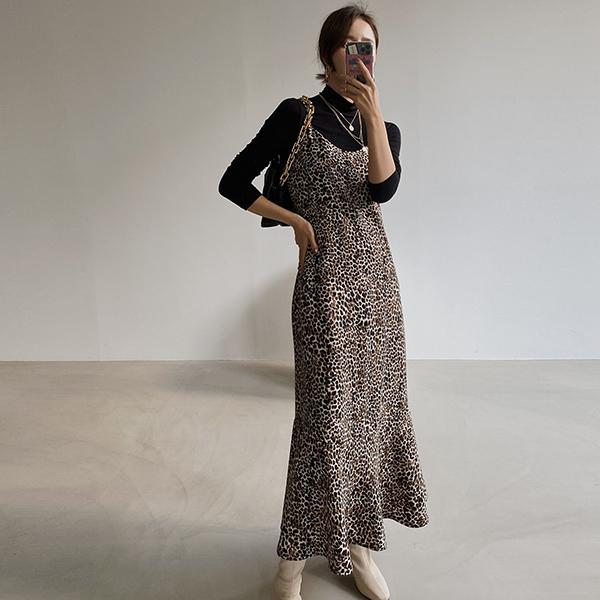 豹紋細肩帶洋裝