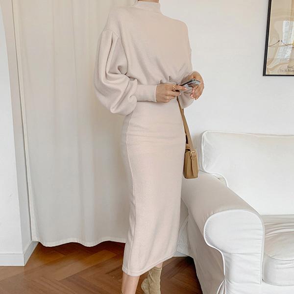 優雅純色長洋裝
