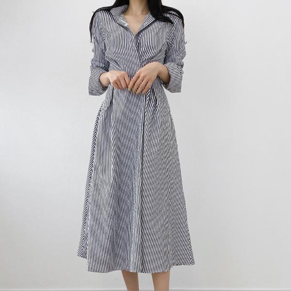 條紋修身收腰洋裝