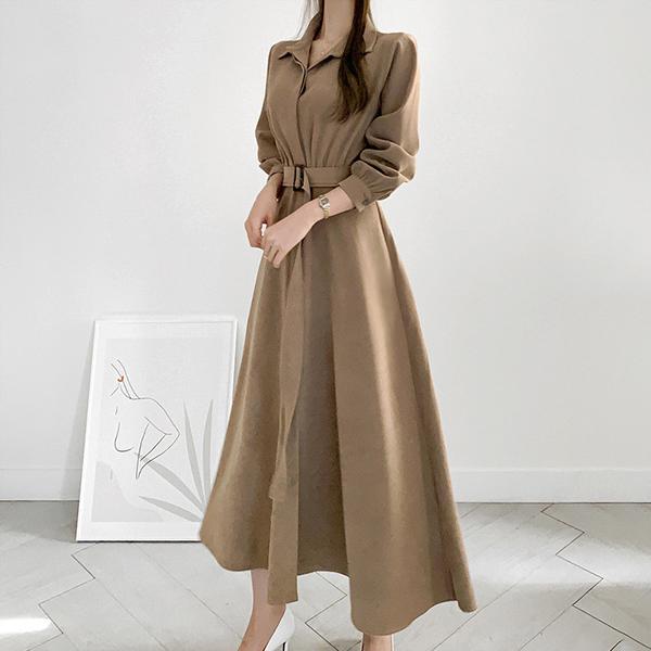 優雅腰帶長洋裝