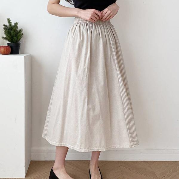 條紋鬆緊長裙