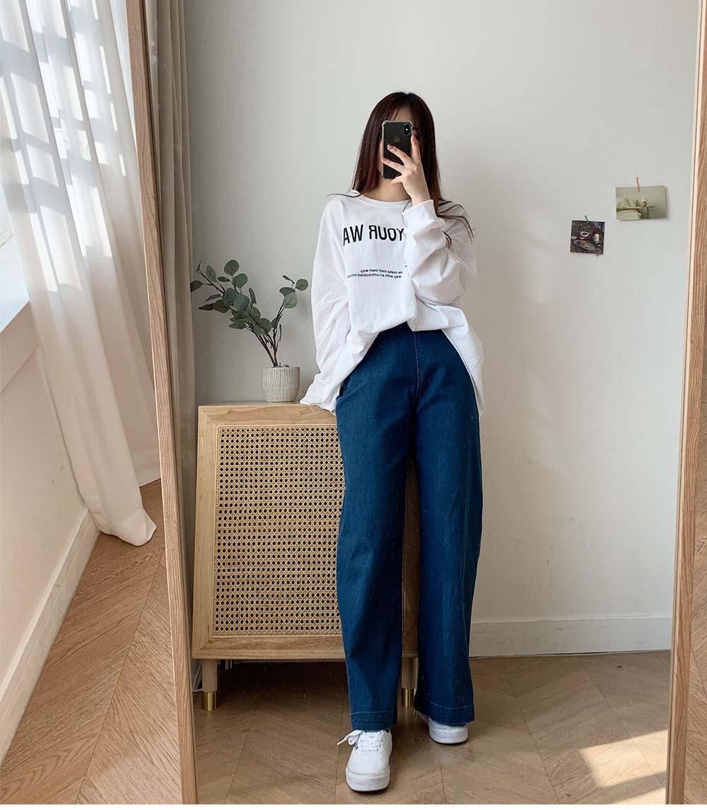 簡約側排釦牛仔褲