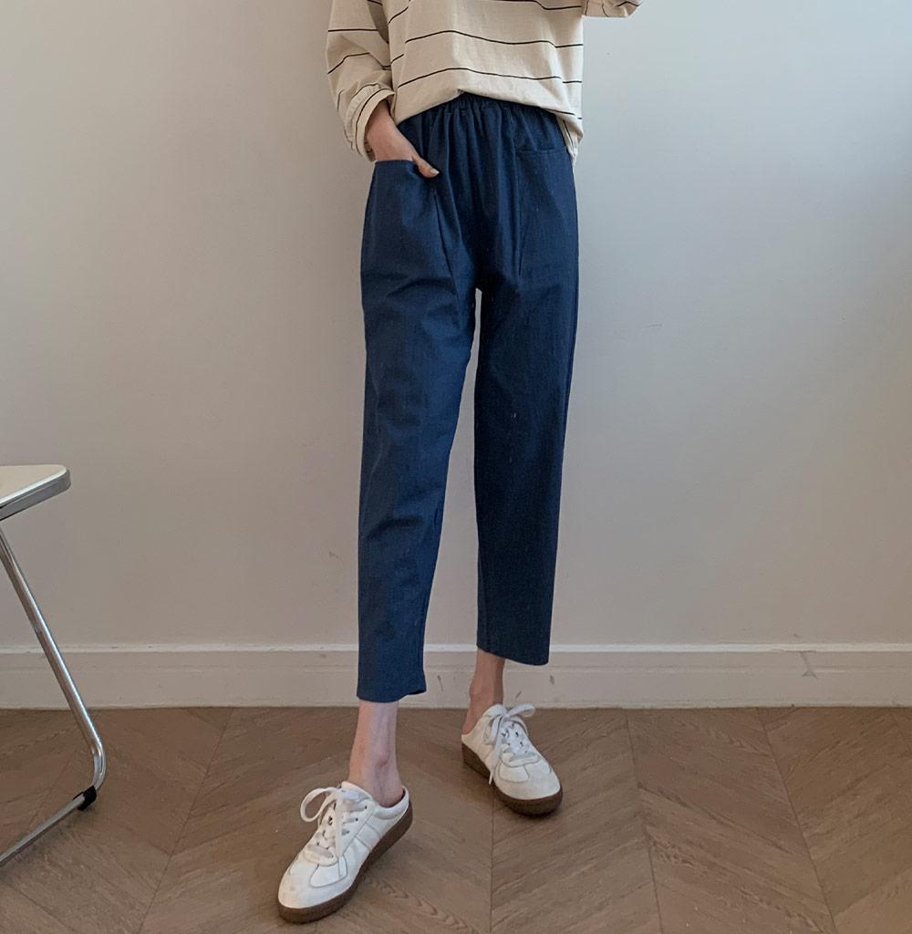 大口袋純色休閒褲