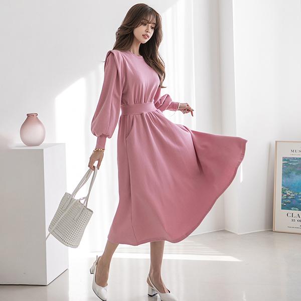 簡約風小清新純色洋裝