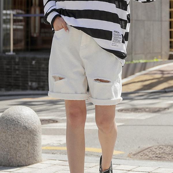 街頭率性刷破短褲,,KOREA,D1-21Y0285,街頭率性刷破短褲,