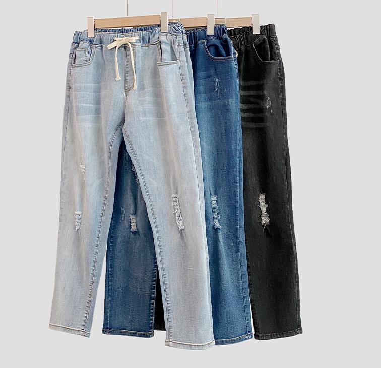 假日刷破單寧質感長褲