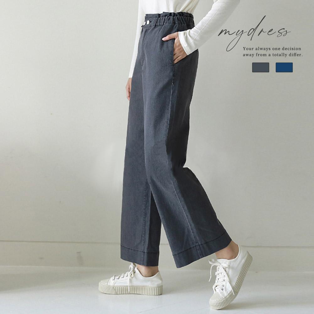 簡約設計休閒時尚感牛仔寬褲