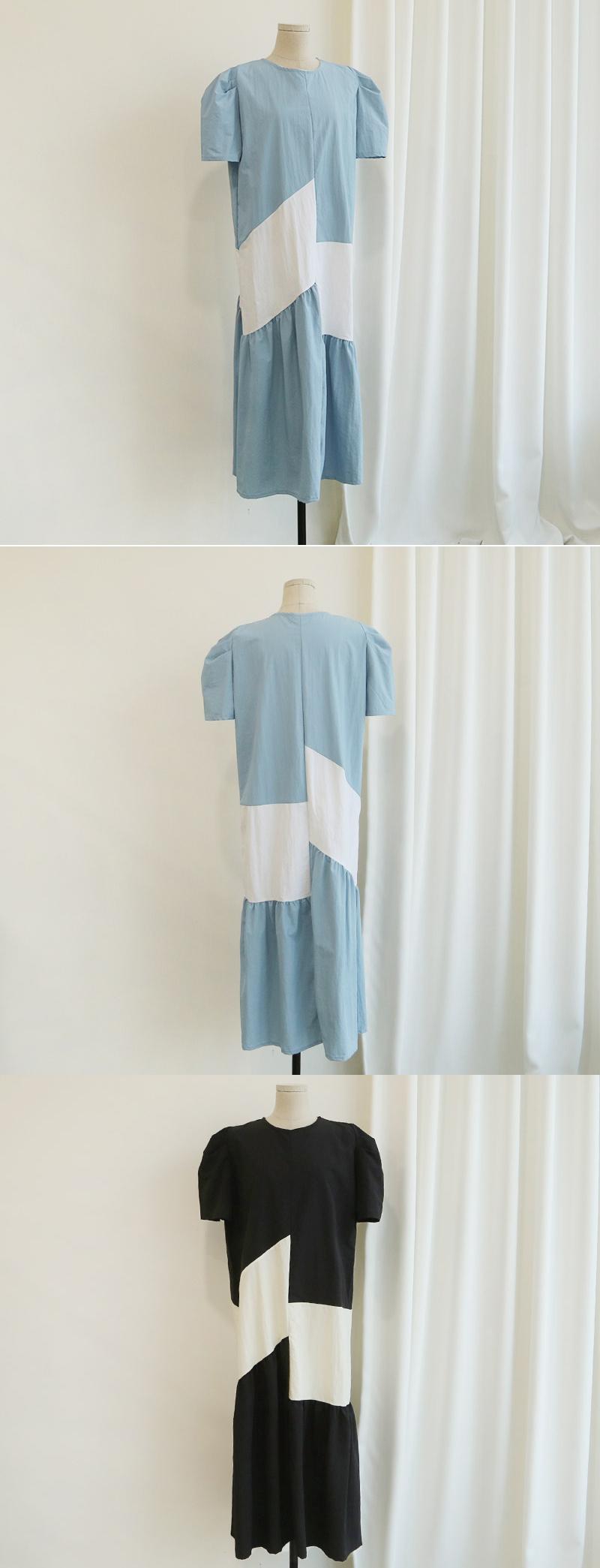 拼接撞色設計時尚貴婦洋裝