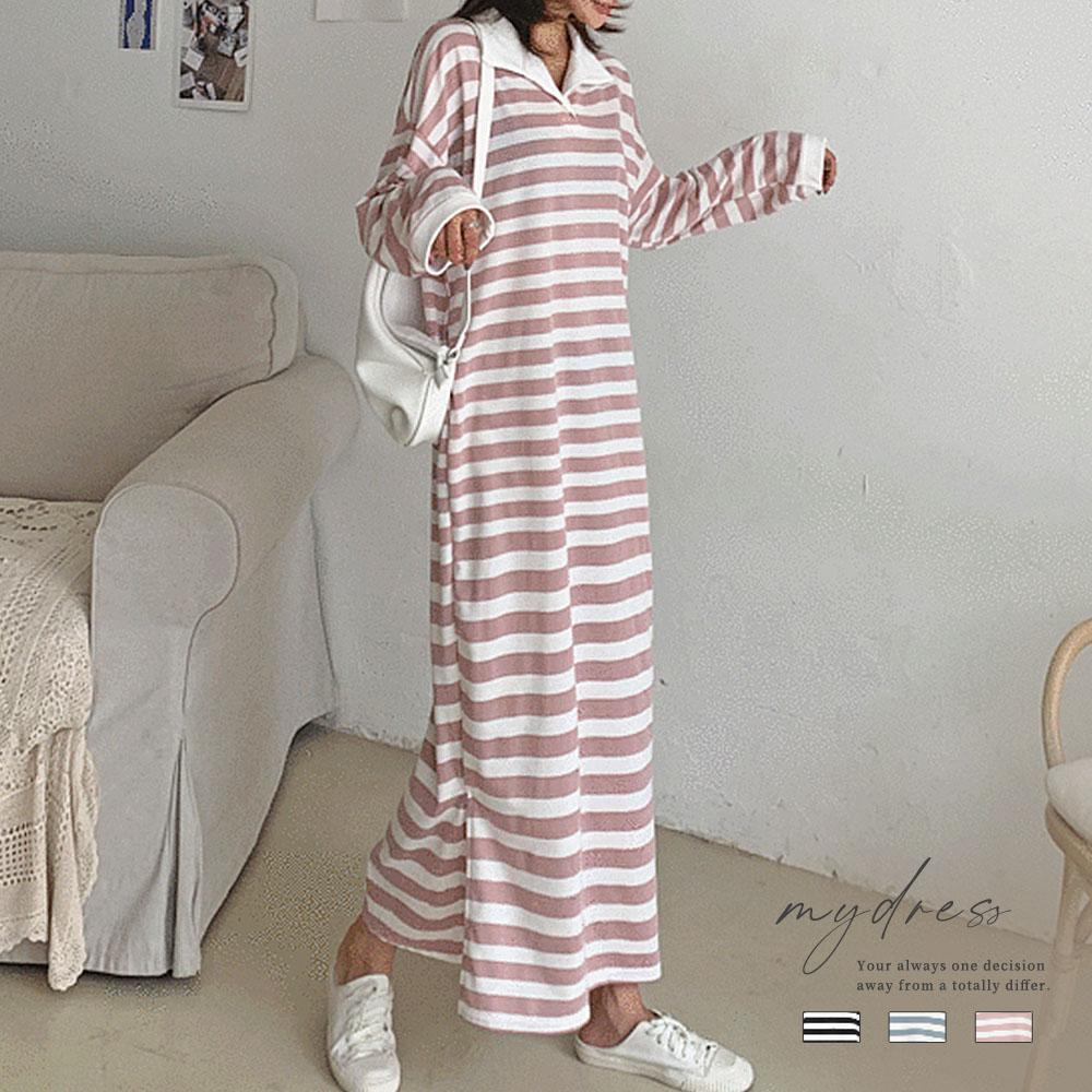 甜美條紋滿版假日感洋裝