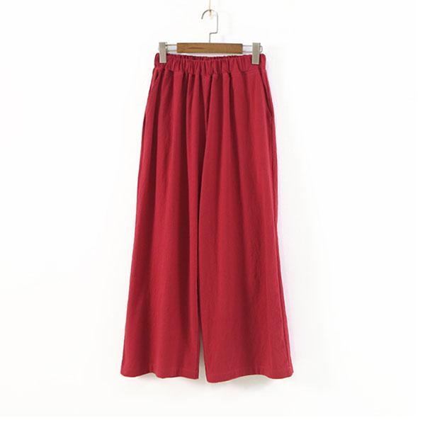 休閒純色九分亞麻寬褲,JEANSWE,百搭,修身,寬鬆,顯瘦
