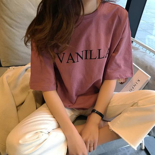 VANILLA字母短袖上衣