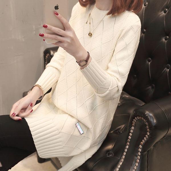 菱格紋長版針織毛衣,JEANSWE,百搭,修身,寬鬆,顯瘦