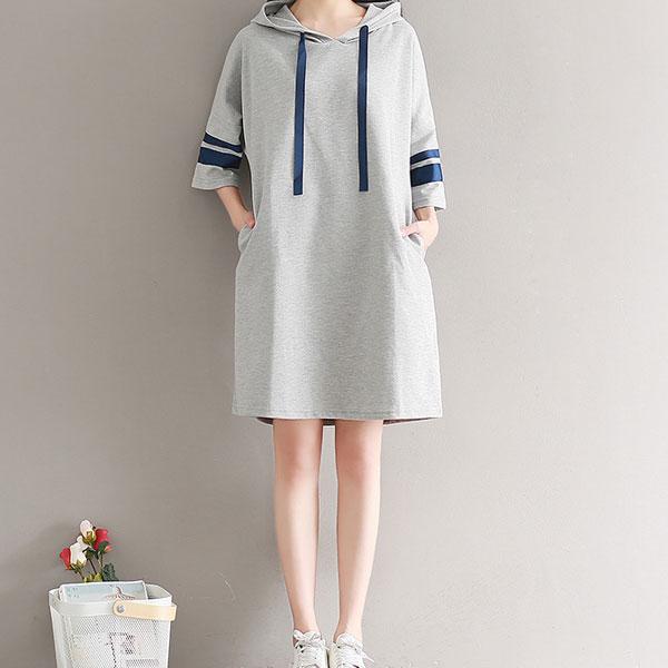 撞色七分袖連帽洋裝,JEANSWE,百搭,修身,寬鬆,顯瘦