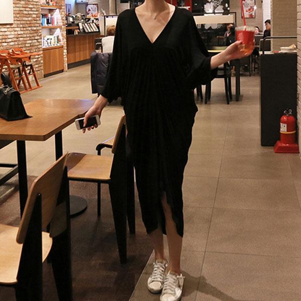 時尚V領開衩連身裙,JEANSWE,百搭,修身,寬鬆,顯瘦