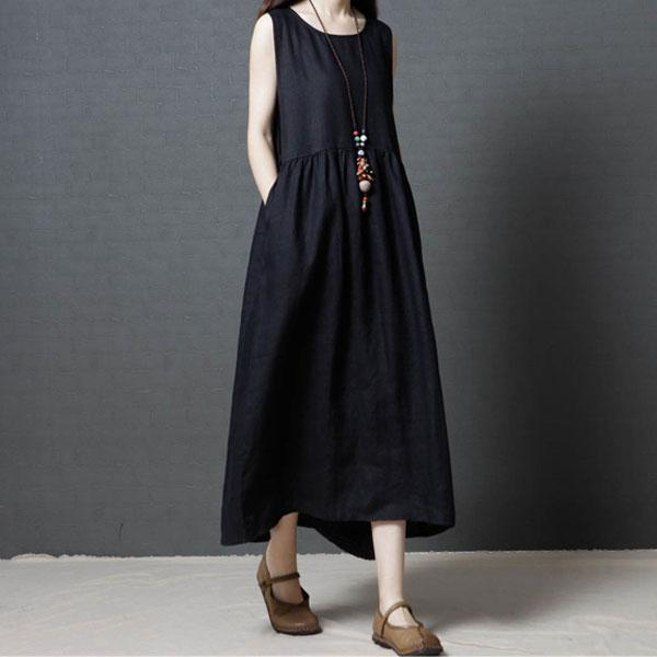 夏日純色背心洋裝