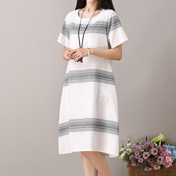 簡搭條紋圓領洋裝