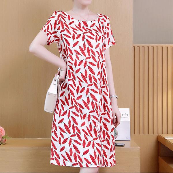民族印花圓領洋裝