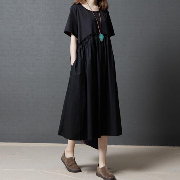 簡約單色圓領洋裝