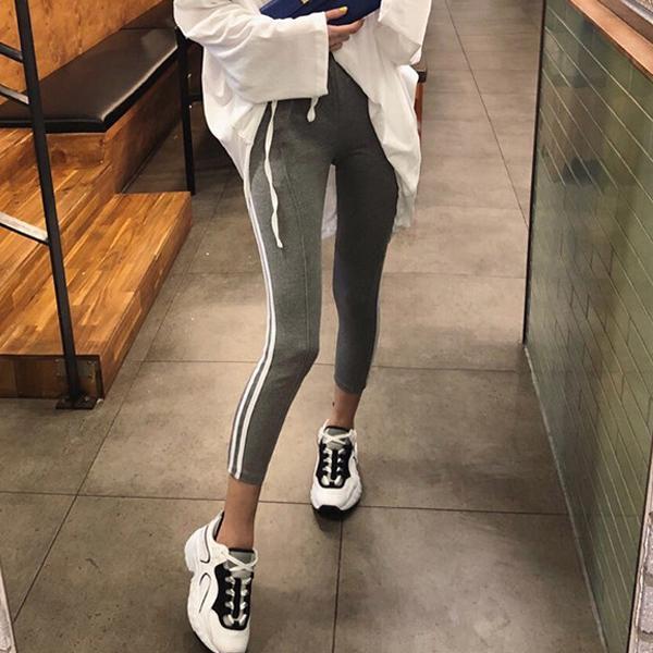 運動條紋休閒棉褲