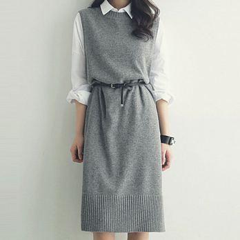 優雅氣質針織背心裙