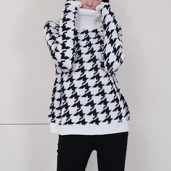 立領千鳥格針織毛衣,JEANSWE,百搭,修身,寬鬆,顯瘦