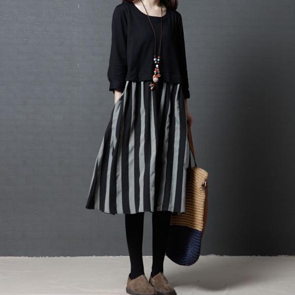 拼接條紋圓領洋裝