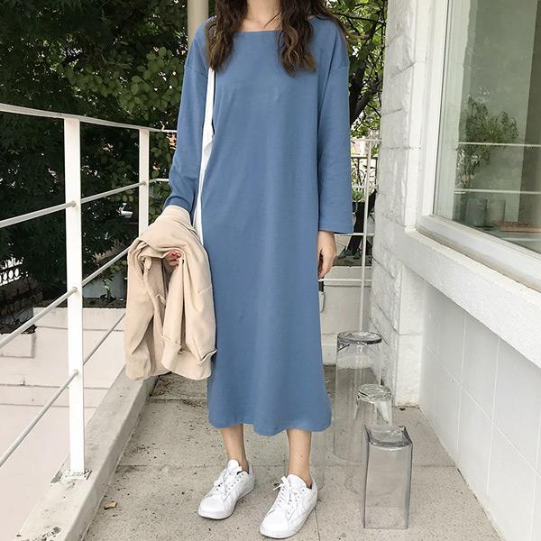 慵懶開衩寬鬆洋裝