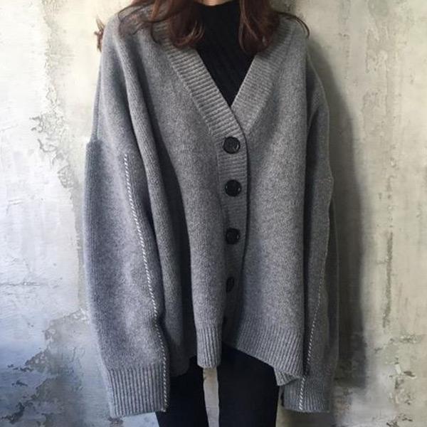 慵懶V領針織外套