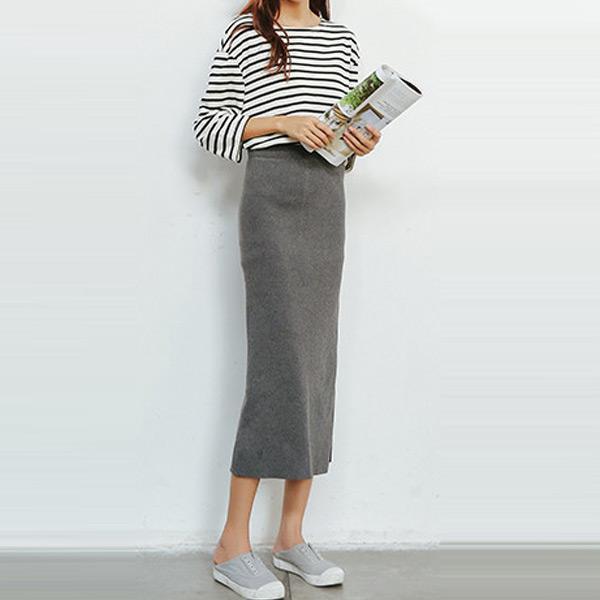 素雅針織開衩長裙