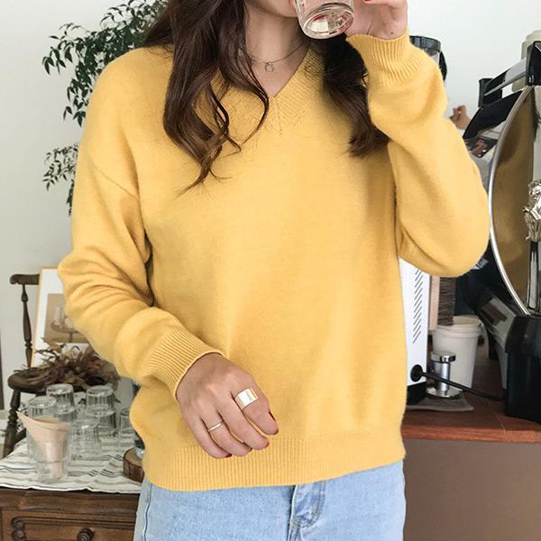 淡雅純色V領針織毛衣,JEANSWE,百搭,修身,寬鬆,顯瘦